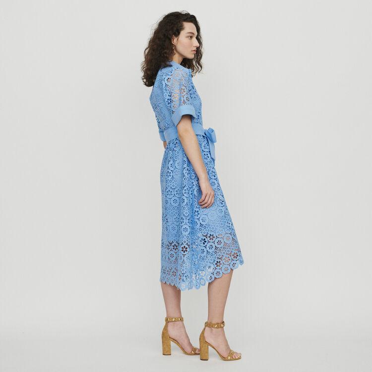 Midi dress in daisy guipure : Dresses color White