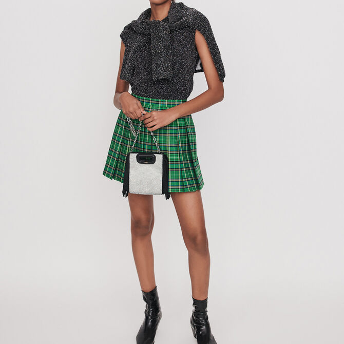 Pleated plaid trompe-l'oeil shorts - staff private sale 20 - MAJE