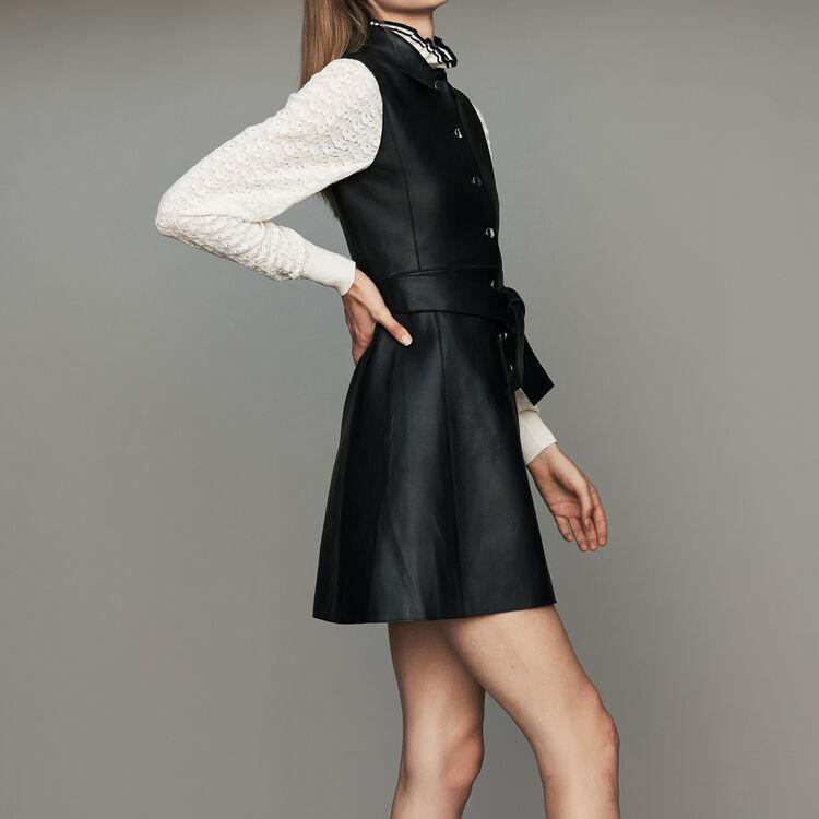 Robe-chemise sans manches en cuir : Nouvelle Collection couleur Black