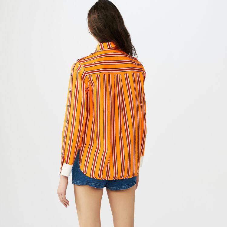 Chemise en coton rayé avec pressions : Chemises couleur Orange