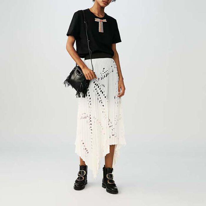 Jupe longue avec plissage perforé : Jupes & Shorts couleur Blanc