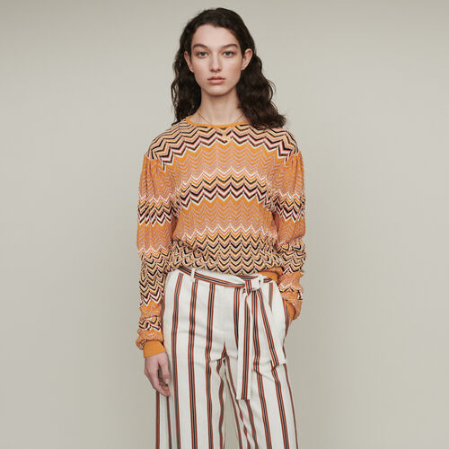 Sweater in zigzag knit : Knitwear color Orange