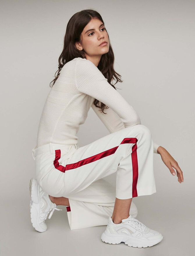 Wide-leg pants with contrasting stripes - Best Sellers - MAJE