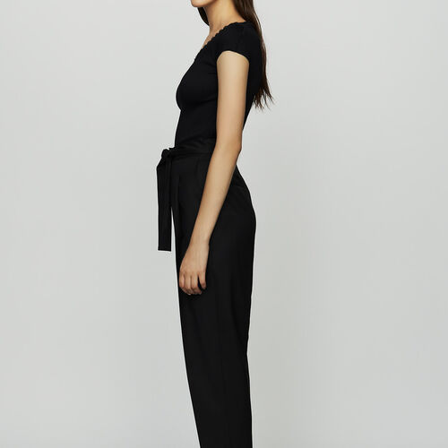 Pleated peg pants in virgin wool : Trousers color Black 210