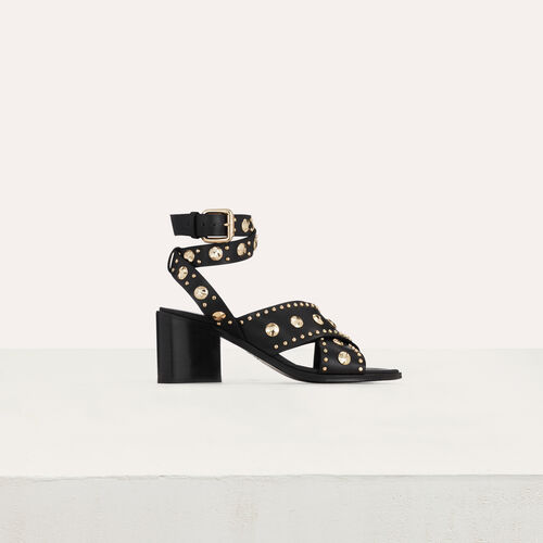Healed leather sandals with studs : Slipper color Black 210