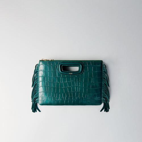 Pochette M Duo en cuir embossé crocodile : M Duo couleur Noir
