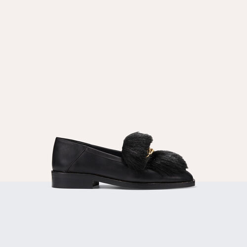 Leather loafers with detachable fur : Accessoires color Black 210