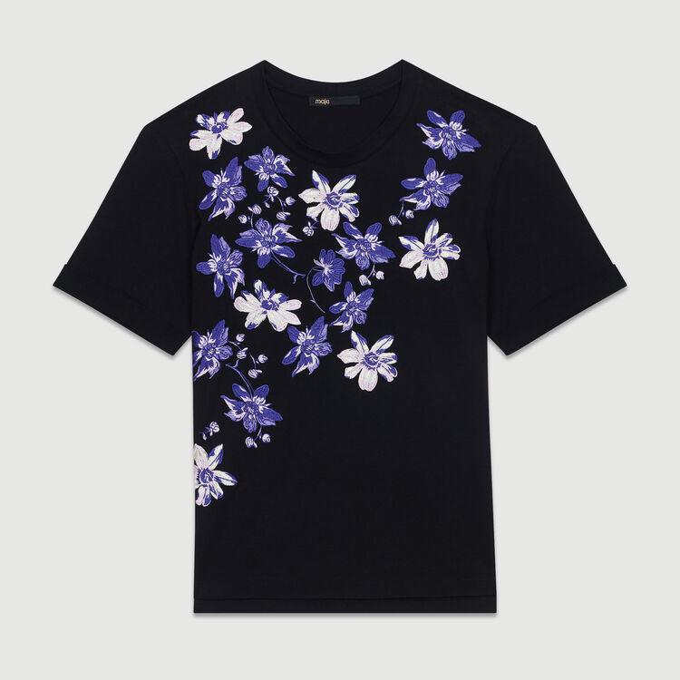 Tee-shirt en coton avec broderie florale : T-Shirts couleur Black