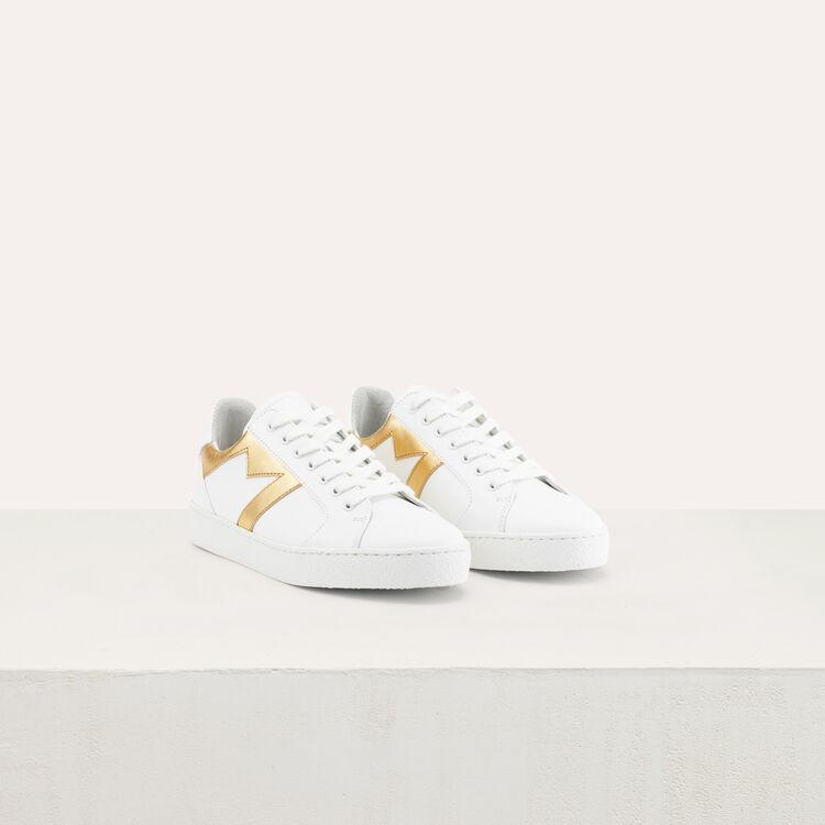 Baskets en cuir : Chaussures couleur Gold