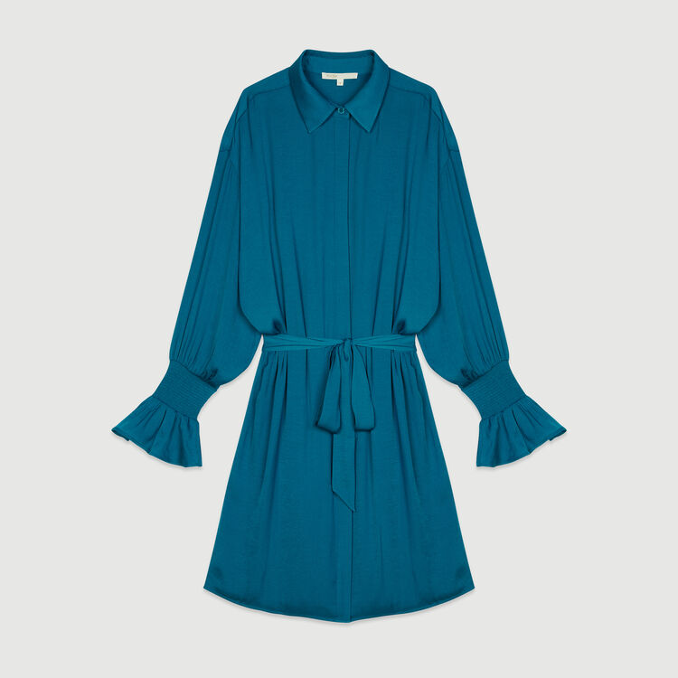 Robe-chemise avec smocks : Robes couleur Bleu