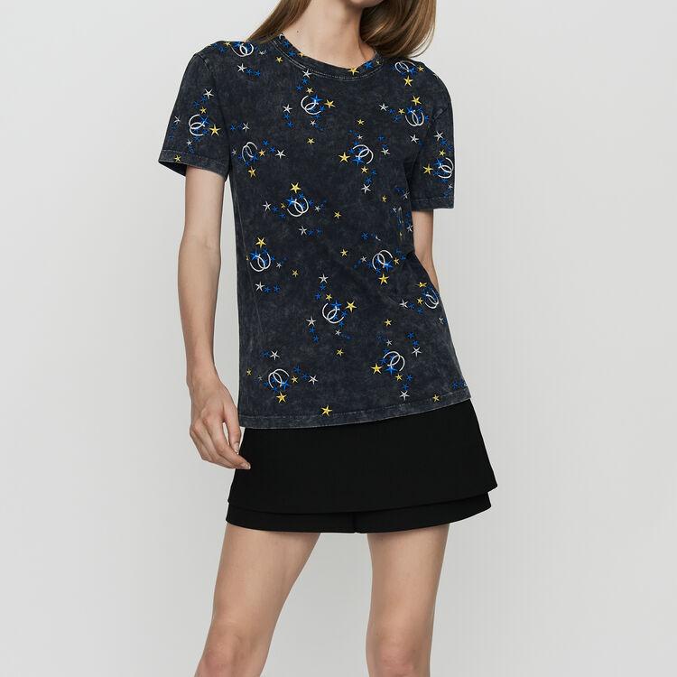 Tee-shirt en coton délavé avec broderies : Prêt-à-porter couleur Gris