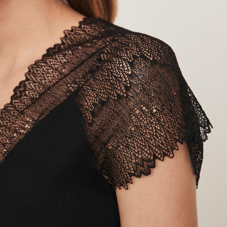Top en jersey incrusté de dentelle : Tops & Chemises couleur Noir