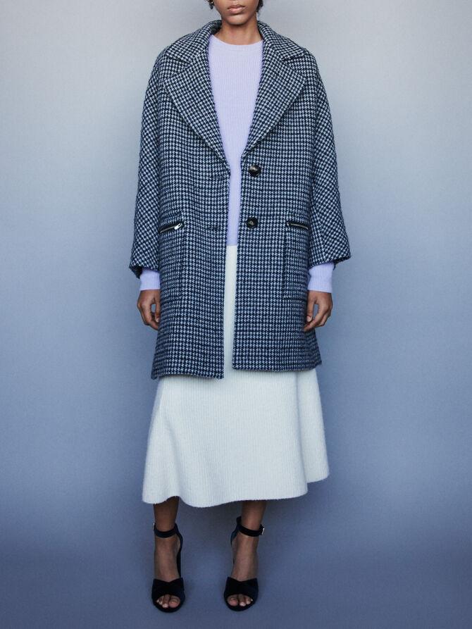 Manteau à carreaux et poches zippées - Blousons & Vestes - MAJE