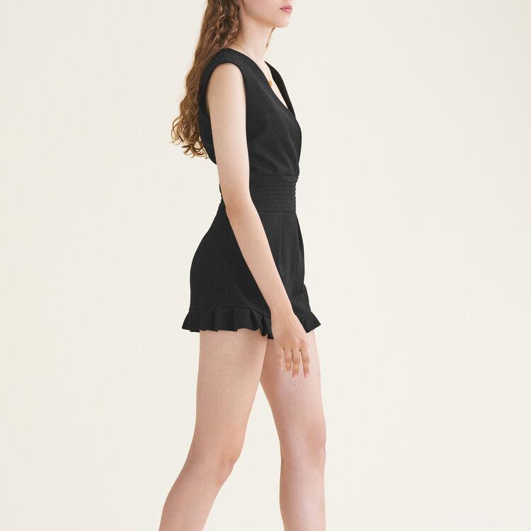 Combishort sans manches en crêpe : Jupes & Shorts couleur Black