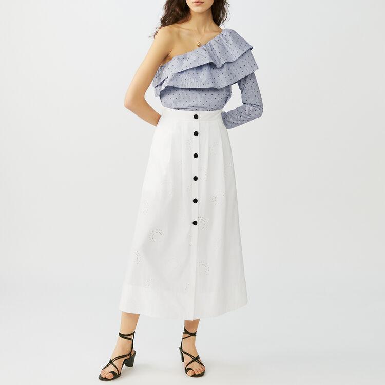 Jupe longue brodée avec short inséré : Tout voir couleur Blanc