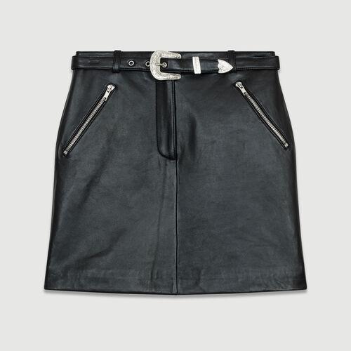 Jupe courte en cuir : Prêt-à-porter couleur BLACK