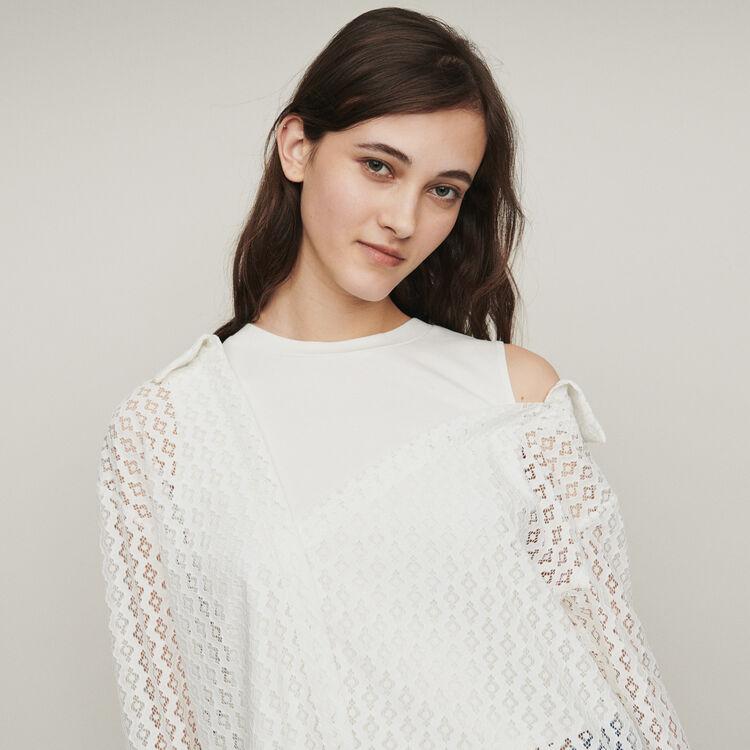 Trompe l'oeil shirt in geometric guipure : Tops & Shirts color White