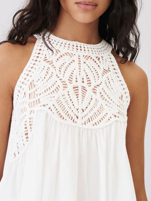 Top mix fluide et maille façon macramé : Tops & Chemises couleur Blanc