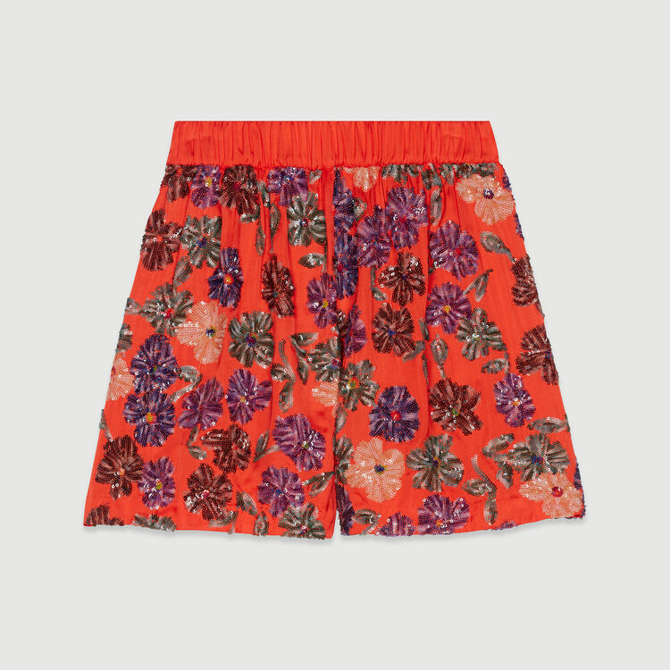 Shorts with sequin embroidery : Skirts & Shorts color Coral