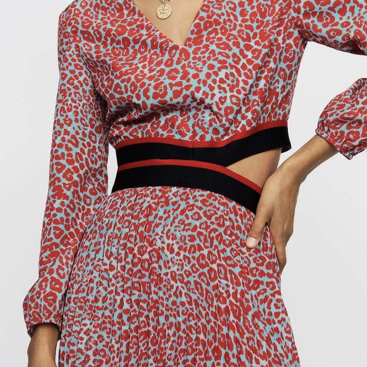 Robe longue plissée à imprimé : Prêt-à-porter couleur IMPRIME