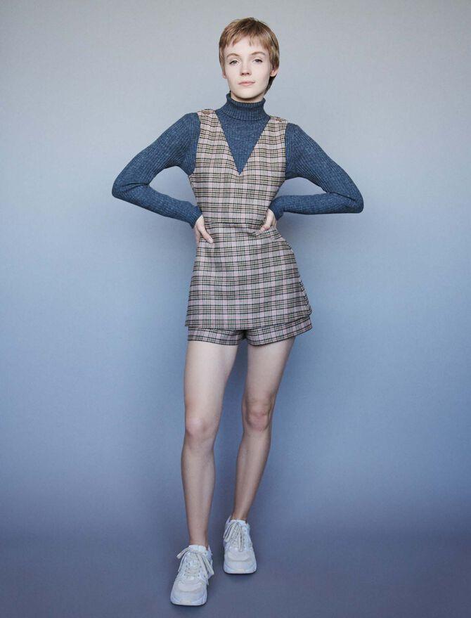 Combinaison-short à carreaux - Robes - MAJE