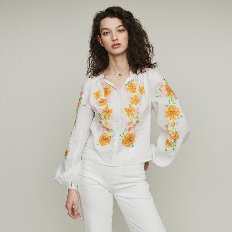 Blouse en lin avec broderies : Tops & Chemises couleur BLANC