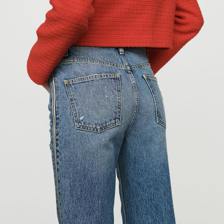 Jean avec zip : Jeans couleur Denim
