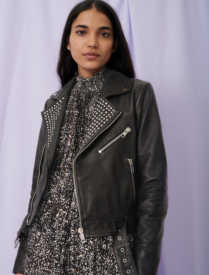 Leather biker-style jacket with studs - Coats & Jackets - MAJE
