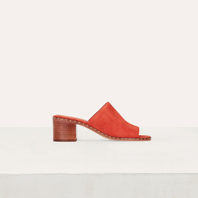 Heeled mules in suede -  - MAJE