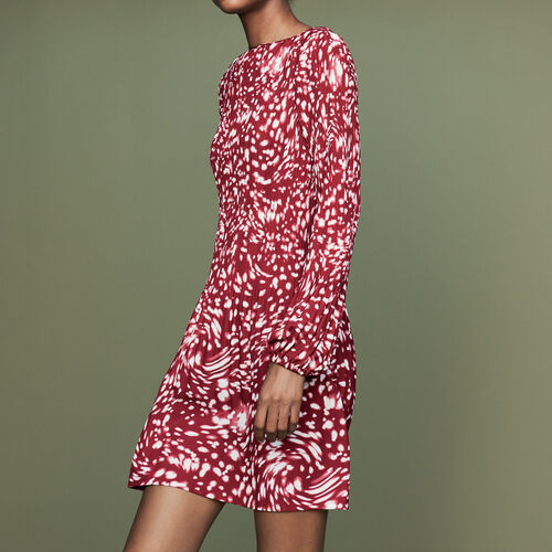 Pleated dress in novelty print : Ready to wear color PRINTED