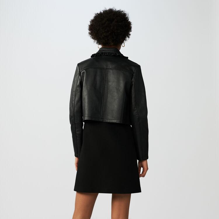 Blouson court en cuir avec volants : Blousons couleur Black