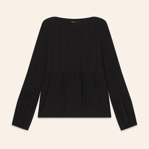 Top avec plissage : Tops couleur BLACK