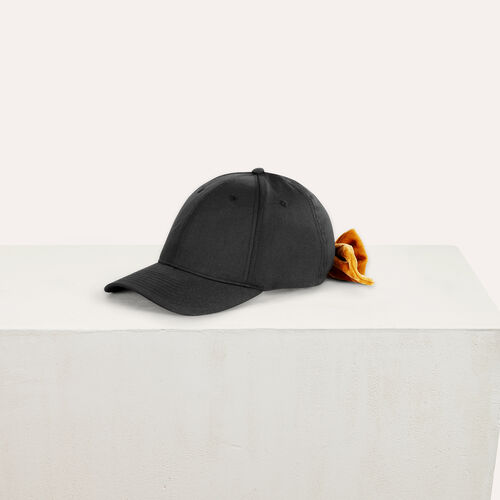 6-panel cap with velvet bow : Accessoires color Black 210