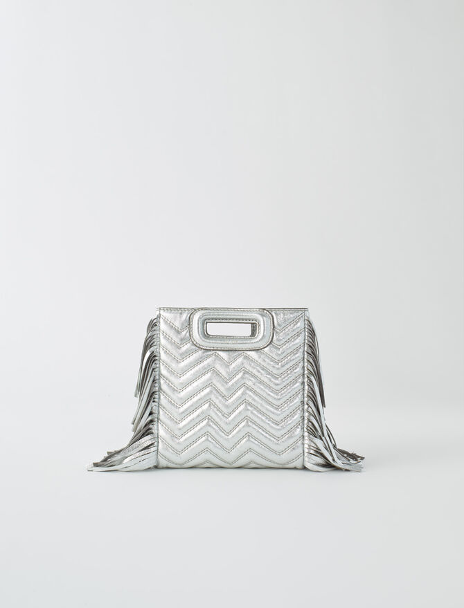 Mini silver quilted leather M bag -  - MAJE