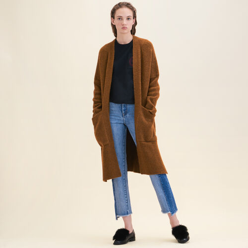 Long oversized cardigan : Sweaters & Cardigans color Caramel