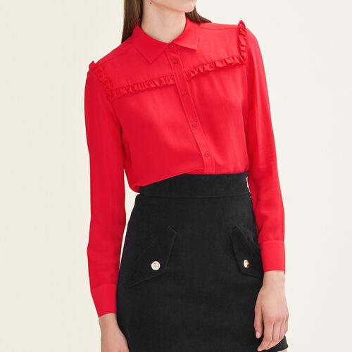Chemise en soie à volants : Tops & Chemises couleur Rouge