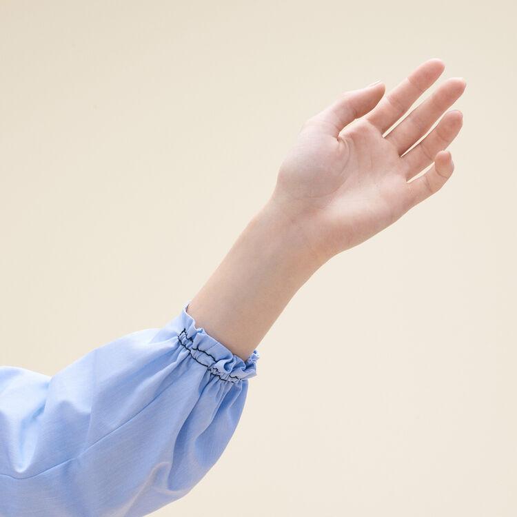 Top chemise en coton avec smocks : Tops couleur Bleu
