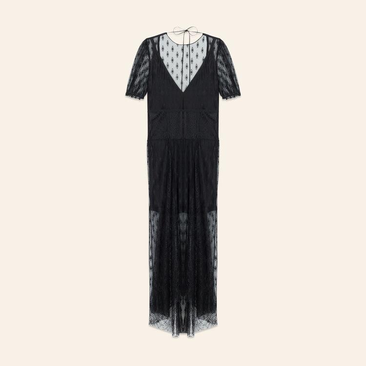 Robe longue avec broderies et dentelle : Robes couleur Black