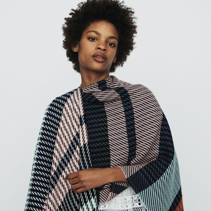 Poncho à motif rayures : Châles & Ponchos couleur MULTICO