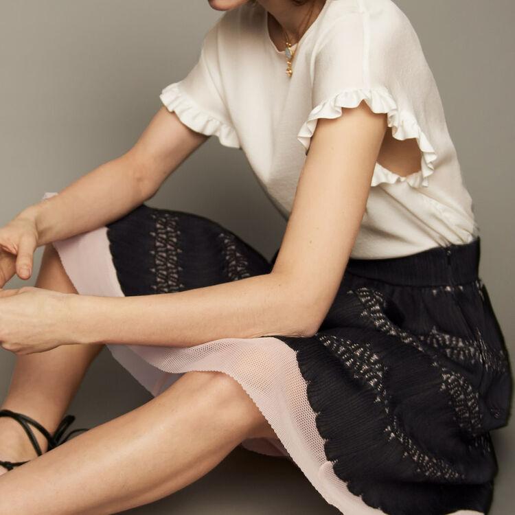 Jupe midi en maille basket et tulle : Jupes & Shorts couleur Black