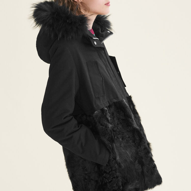 meilleure sélection e31b8 9436f GARANCE Parka in cotton and curly sheepskin