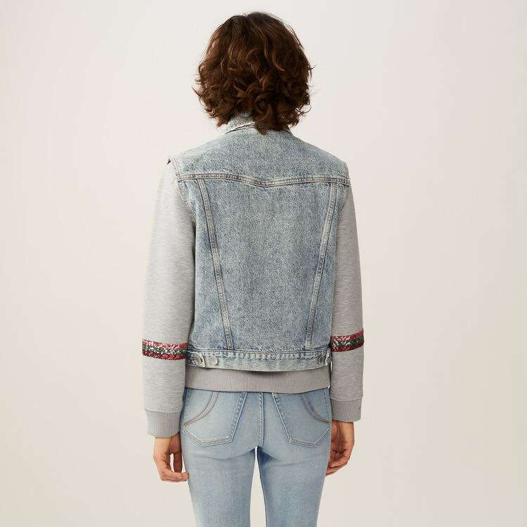 Veste sans manches en jean : Blousons couleur Bleu