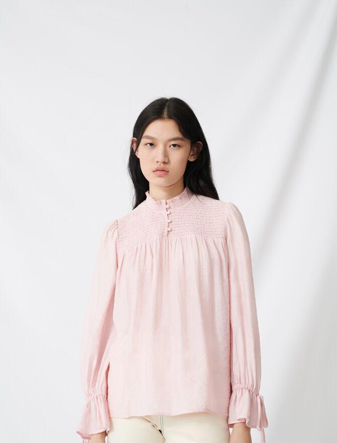 Smocked blouse with puff sleeves - Tops & Shirts - MAJE