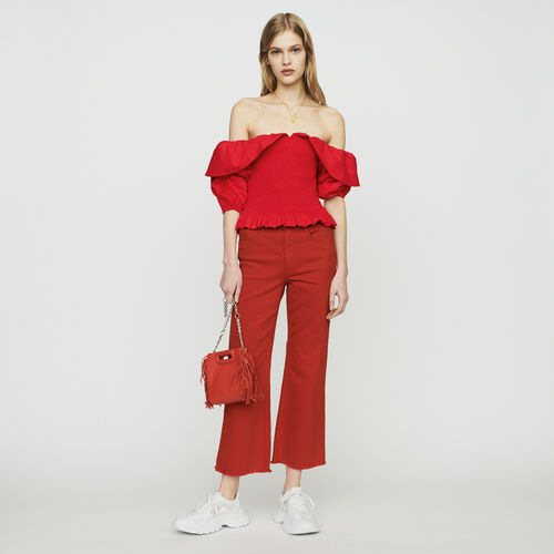 Smocked cold-shoulder top : New in : Summer Collection color Red