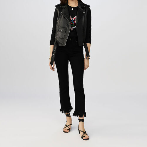 Straight-cut fringed jeans : Trousers color Black 210