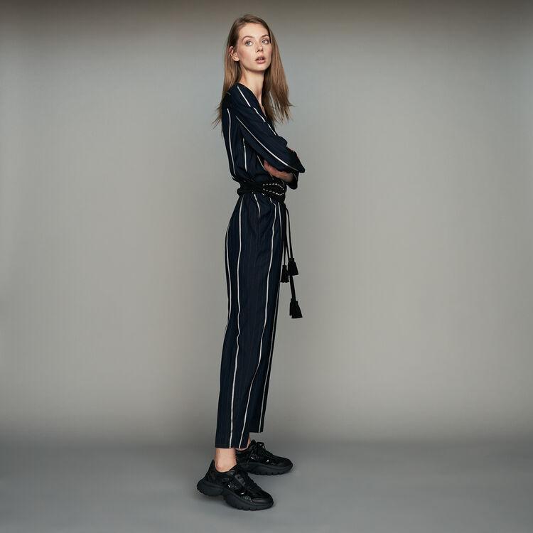 Combinaison-pantalon à rayures : Pantalons couleur Marine
