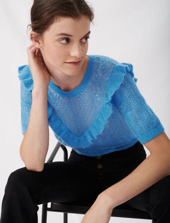 Pull bleu pastel en maille ajourée - Nouvelle collection - MAJE