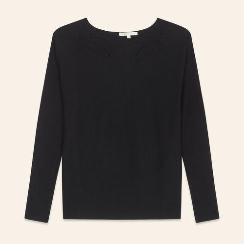 Pull fin en laine mélangée : Pulls & Cardigans couleur BLACK