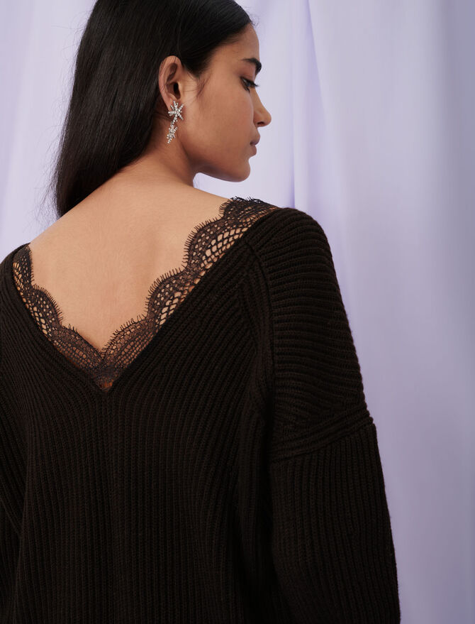 Lace neckline sweater - Pullovers & Cardigans - MAJE