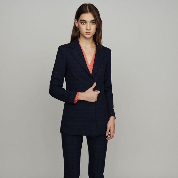 Veste de tailleur à carreaux fondus : Vestes couleur Marine